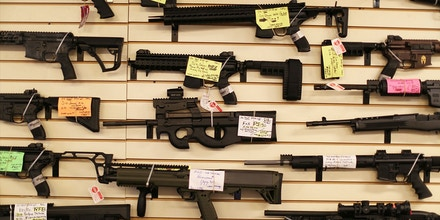Weapons are seen on display at the K&W Gunworks store on the day that U.S. President Barack Obama in Washington, DC announced his executive action on guns on January 5, 2016 in Delray Beach, Florida. President Obama announced several measures that he says are intended to advance his gun safety agenda. (Photo by Joe Raedle/Getty Images)