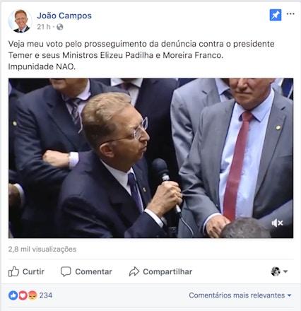 Post do deputado João Campos