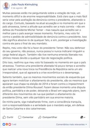 Post do deputado João Paulo em agosto