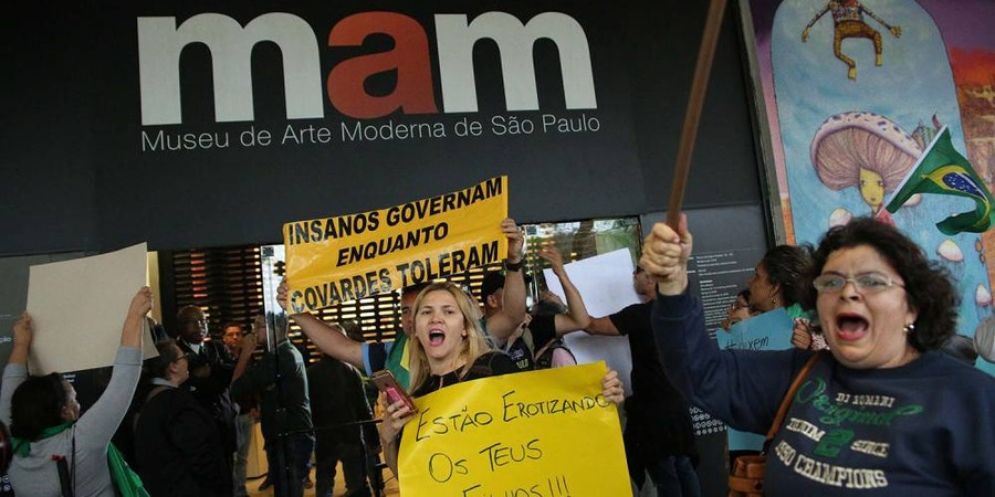 Protestors gather outside São Paulo's Modern Art Museum after exhibition with naked man