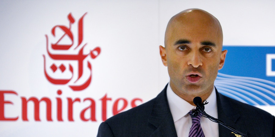 Yousef Al Otaiba, UAE Ambassador to the United States, talks during a news conference  on Thursday, Feb. 2, 2012 in Grapevine, Texas.  The arrival of Emirates first flight from Dubai International Airport (DXB) to Dallas/Fort Worth International Airport (DFW).  The service marks DFW Airport's first commercial non-stop flight to the Middle East.   (AP Photo/The Fort Worth Star-Telegram, Max Faulkner)  MAGS OUT