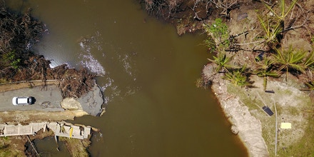An aerial view of an area that was reclaimed by a nearby mangrove during the passing of Hurricane Maria in Manati, Puerto Rico on October 6, 2017.   / AFP PHOTO / Ricardo ARDUENGO        (Photo credit should read RICARDO ARDUENGO/AFP/Getty Images)