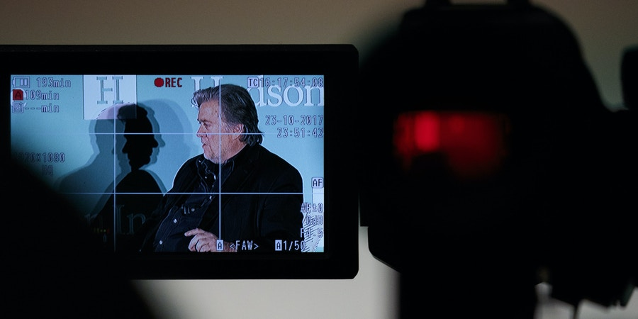 WASHINGTON, DC - OCTOBER 23: Displayed on a video camera monitor, Steve Bannon, former White House chief strategist and chairman of Breitbart News, speaks during a discussion on countering violent extremism, at the Ronald Reagan Building and International Trade Center, October 23, 2017 in Washington, DC. The program was focused on issues of extremism in the Middle East, including Qatar, Iran and the Muslim Brotherhood. (Photo by Drew Angerer/Getty Images)