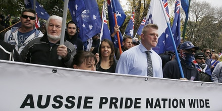 MELBOURNE, AUSTRALIA - JUNE 25:   Protesters from the 'True Blue Crew