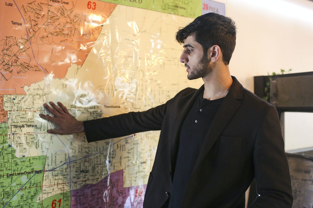 Candidate Ahmad Hussam Saadaldin points out different parts of his district on a map at his campaign office in Temple Terrace, Florida on Wednesday, November 1, 2017. Saadaldin is running as an independent in the special election for the Florida House of Representatives District 58 on December 19.