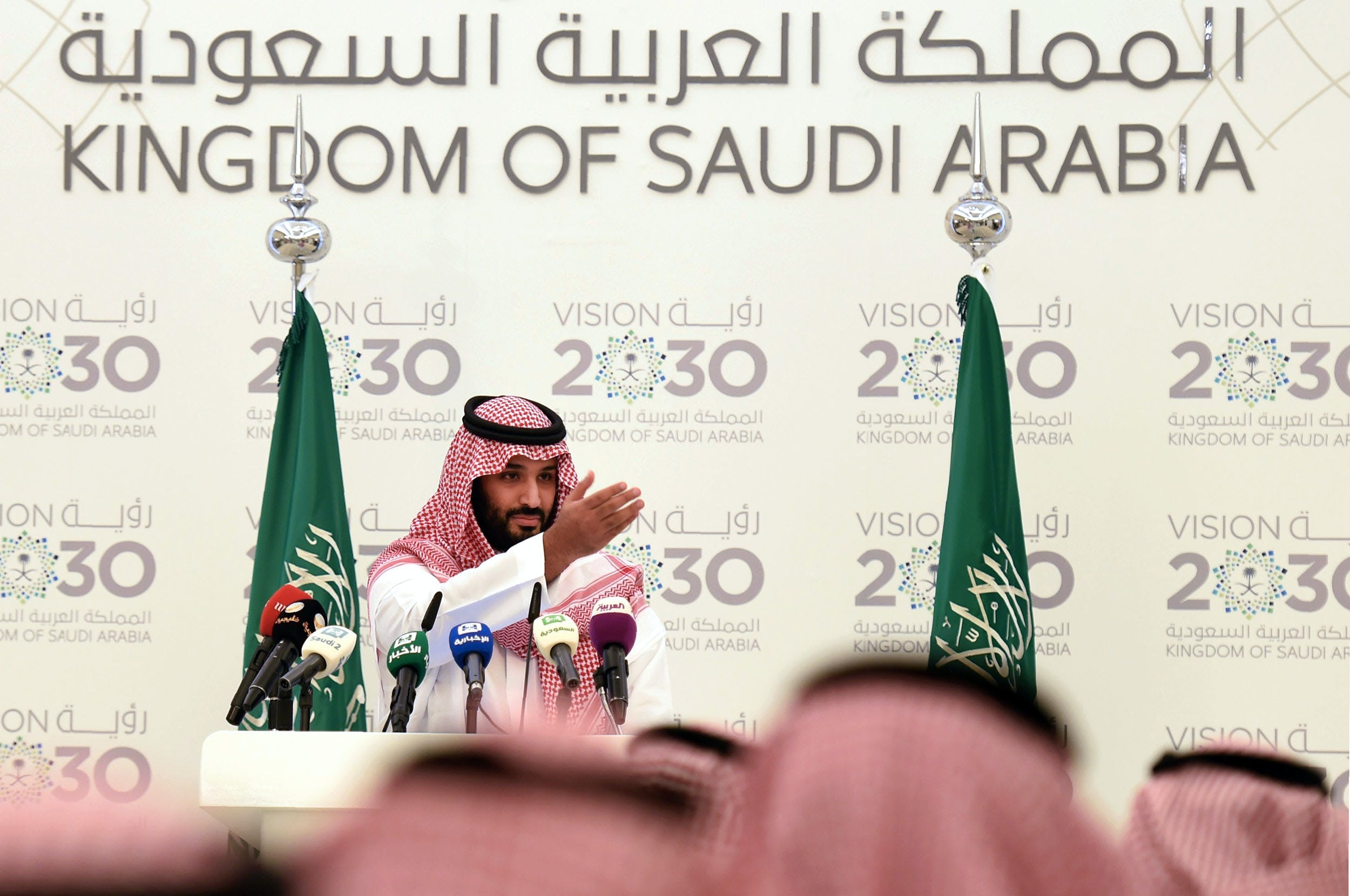 "Saudi Defense Minister and Deputy Crown Prince Mohammed bin Salman gives a press conference in Riyadh, on April 25, 2016.The key figure behind the unveiling of a vast plan to restructure the kingdom's oil-dependent economy, the son of King Salman has risen to among Saudi Arabia's most influential figures since being named second-in-line to the throne in 2015. Salman announced his economic reform plan known as ""Vision 2030"". / AFP / FAYEZ NURELDINE (Photo credit should read FAYEZ NURELDINE/AFP/Getty Images)"