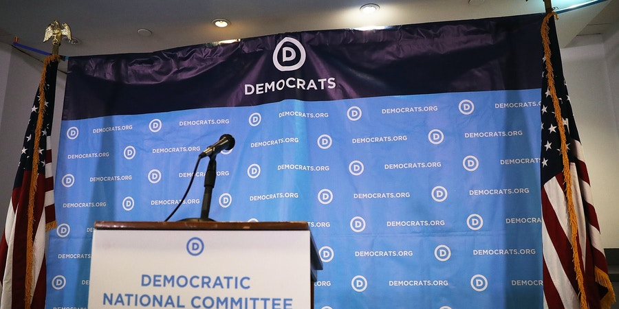 WASHINGTON, DC - JULY 19: A backdrop is seen before the arrival of Rep. Joaquin Castro, (D-TX), Rep. Terri Sewell (D-AL), California Secretary of State Alex Padilla, Jason Kander, president of Let America Vote, and DNC Vice Chair Michael Blake for a press conference at the Democratic National Headquarters on July 19, 2017 in Washington, DC.  The news conference was held