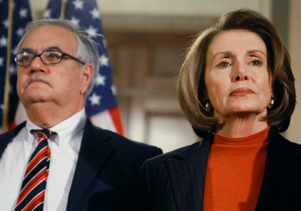 WASHINGTON - DECEMBER 09:  House Speaker Nancy Pelosi (D-CA) (R) and Rep. Barney Frank (D-MA) listen to questions from reporters after a meeting on Capitol Hill December 9, 2008 in Washington, DC. House Democrats met with experts on the economy and national security to address efforts to get the economy back on track. (Photo by Mark Wilson/Getty Images)