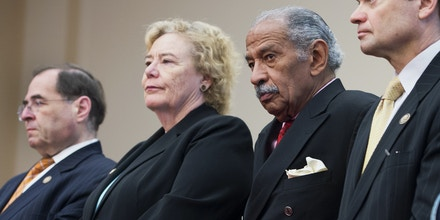 UNITED STATES - MAY 08:  From left, Reps. Jerry Nadler, D-N.Y., Zoe Lofgren, D-Calif., John Conyers, D-Mich., Mike Quigley, D-Ill., and Shelia Jackson Lee, D-Texas, attend a news conference in Rayburn with democratic members of the House Judiciary Committee to express opposition to House Republicans alternative Violence Against Women Act Reauthorization bill.  (Photo By Tom Williams/CQ Roll Call) (CQ Roll Call via AP Images)