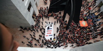 WASHINGTON, DC - NOVEMBER 09:  Dreamers fill the halls and atrium during a protest inside of the Hart Senate Office Building on November 9, 2017 in Washington, DC. Dreamers were protesting to urge Senate Republicans to support the Deferred Action for Childhood Arrivals (DACA) program.  (Photo by Mark Wilson/Getty Images)