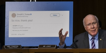 WASHINGTON, DC - OCTOBER 31: With a display showing President Donald Trump retweeting a fake Russian Twitter account, Sen. Patrick Leahy (D-VT) questions witnesses during a Senate Judiciary Subcommittee on Crime and Terrorism hearing titled 'Extremist Content and Russian Disinformation Online' on Capitol Hill, October 31, 2017 in Washington, DC. The committee questioned the tech company representatives about attempts by Russian operatives to spread disinformation and purchase political ads on their platforms, and what efforts the companies plan to use to prevent similar incidents in future elections. (Drew Angerer/Getty Images)