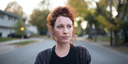 A portrait of Ginger Jentzen while she was out canvasing a neighborhood in Minneapolis, Minnesotaon October 20, 2017 . Jentzen, former director of 15 Now, a successful campaign to raise the minimum wage to $15/hour in Minneapolis, is running for Minneapolis City Council Ward 3 as a member of Socialist Alternative. Photo by Jenn Ackerman@ackermangruber