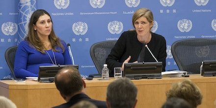 UNITED NATIONS, NEW YORK, UNITED STATES - 2015/12/01: Samantha Power (R), United States Permanent Representative to the UN and President of the Security Council for December, briefs journalists on the Councils program of work for the December today at the UNHQ in New York City. (Photo by Luiz Rampelotto/Pacific Press/LightRocket via Getty Images)