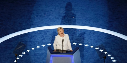 Democratic presidential nominee Hillary Clinton walks on stage to accept her nomination during the fourth and final night of the Democratic National Convention at Wells Fargo Center on July 28, 2016 in Philadelphia, Pennsylvania.  / AFP / Patrick T. Fallon        (Photo credit should read PATRICK T. FALLON/AFP/Getty Images)