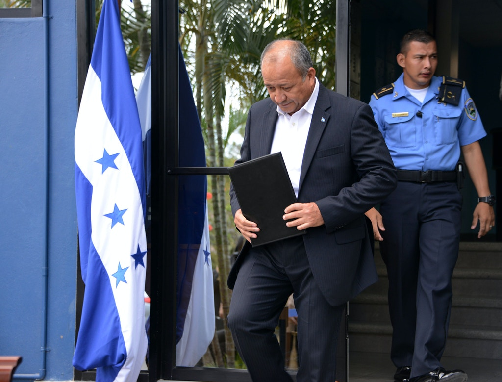 Honduran Security Minister Julian Pacheco prepares to deliver a press conference in Tegucigalpa, on March 7, 2017.  Pacheco denied on Tuesday the accusations made by a former Honduran drug lord currently being held in the United States, of collaborating with drug trafficking. / AFP PHOTO / ORLANDO SIERRA        (Photo credit should read ORLANDO SIERRA/AFP/Getty Images)