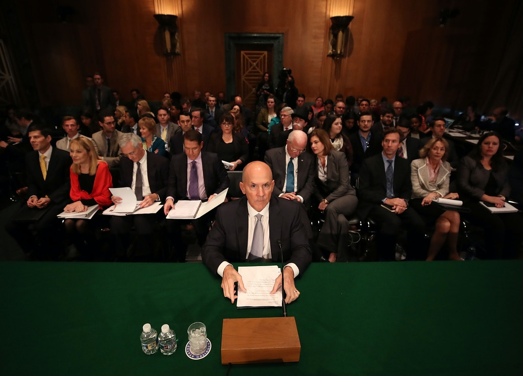 WASHINGTON, DC - OCTOBER 04:  Former Equifax CEO Richard Smith prepares to testify before the Senate Banking, Housing and Urban Affairs Committee in the Hart Senate Office Building on Capitol Hill October 4, 2017 in Washington, DC. Smith stepped down as CEO of Equifax last month after it was reported that hackers broke into the credit reporting agency and made off with the personal information of nearly 145 million Americans.  (Photo by Mark Wilson/Getty Images)