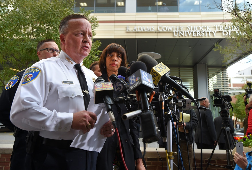 Baltimore,MD--11/16/17 -Baltimore Police Commissioner Kevin Davis and Mayor Catherine Pugh at a press conference announcing that Detective Sean Suiter, an 18-year veteran of the department died Thursday. after he was shot in the head yesterday.  DSC_9971.JPG  Sun Staff photo by Lloyd Fox