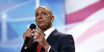Tom Barrack, CEO of Colony Capital speaks during the final day of the Republican National Convention in Cleveland, Thursday, July 21, 2016. (AP Photo/Carolyn Kaster)