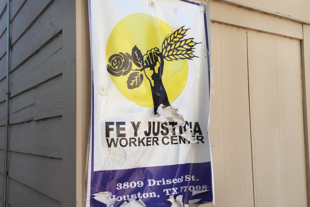 Poster for Fe y Justicia Worker Center, a safe space for         low-wage workers to learn about their rights and organize to         improve working conditions.