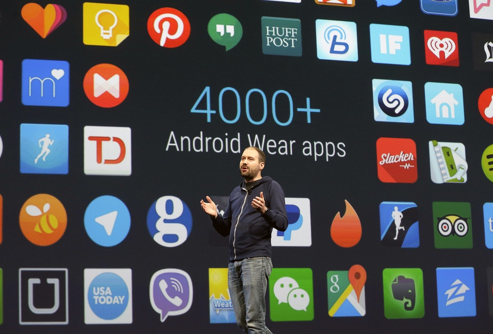 FILE - In this May 28, 2015, file photo, David Singleton, director at Android Wear, speaks during the Google I/O 2015 keynote presentation in San Francisco. With the upcoming M version of Android, you give permission as apps need it. (AP Photo/Jeff Chiu, File)