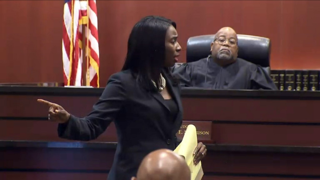 In this image made from a video, Portsmouth Commonwealth's Attorney Stephanie Morales asks the jury to give former police officer Stephen Rankin the maximum sentence Thursday, Aug. 4, 2016, in Portsmouth, Va. A jury convicted Rankin of voluntary manslaughter on Thursday in the shooting death of an unarmed black man who had been accused of shoplifting. (The Virginian-Pilot via AP, Pool)