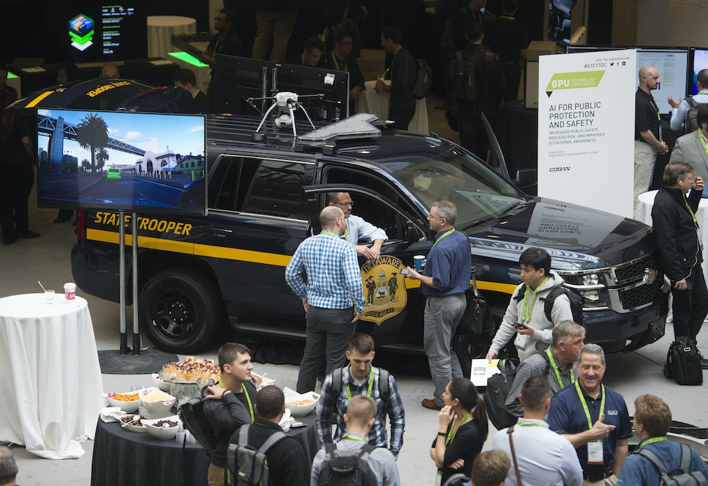 A law enforcement vehicle outfitted with facial recognition and artificial intelligence systems is seen during the NVIDIA GPU Technology Conference, which showcases artificial intelligence, deep learning, virtual reality and autonomous machines, in Washington, DC, November 1, 2017 / AFP PHOTO / SAUL LOEB        (Photo credit should read SAUL LOEB/AFP/Getty Images)