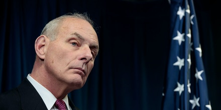 WASHINGTON, DC - JANUARY 31: Secretary of Homeland Security John Kelly listens to questions during a press conference related to President Donald Trump's recent executive order concerning travel and refugees, January 31, 2017 in Washington, DC. On Monday night, President Donald Trump fired the acting Attorney General Sally Yates after she released a statement saying the Justice Department would not enforce the president's executive order that places a temporary ban on citizens from seven Muslim-majority countries. (Photo by Drew Angerer/Getty Images)