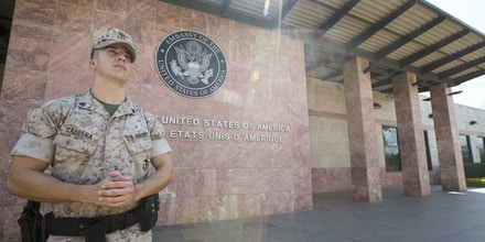 U.S. Marine Corps Sgt. Daniel Cabrera, a Marine Security Guard (MSG) watchstander, poses for a photo while patrolling the U.S. Embassy, Bamako, Mali, Aug. 29, 2016. The MSG program, run by the Marine Corps Embassy Security Group, has 175 Marine Corps Detachments throughout the world, providing protection to mission personnel and to prevent the compromise of national security information and equipment at designated diplomatic and consular facilities. (U.S. Marine Corps photo by Staff Sgt. Sarah R. Hickory)
