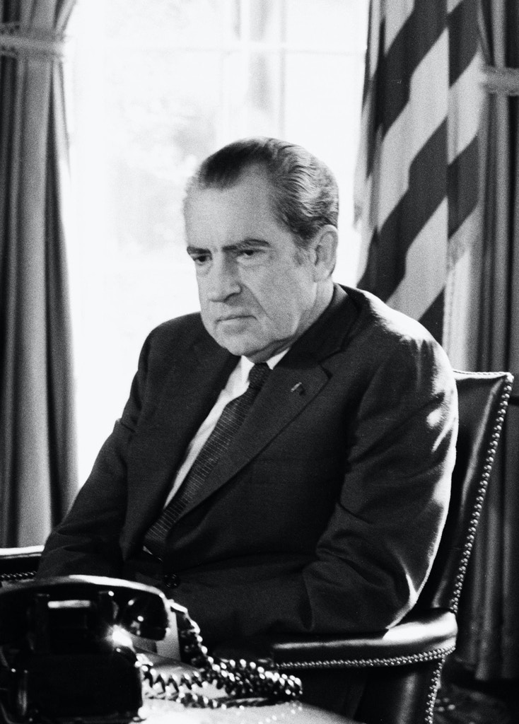 WASHINGTON - FEBRUARY 2:  (NO U.S. TABLOID SALES)  US President Richard Nixon sits in the Oval Office of the White House During Watergate scandal on February 2, 1974 in Washington DC.  (Photo by David Hume Kennerly/Getty Images)