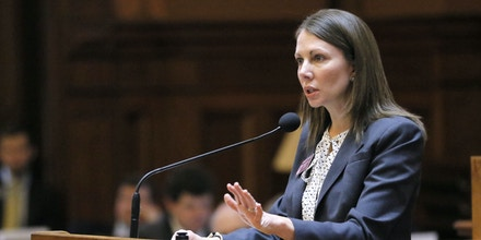 Rep. Stacey Evans, D - Smyrna, speaks in opposition to HB 37 during a legislative session of the Georgia General Assembly, Wednesday, Feb. 22, 2017, in Atlanta. Chairman of the Appropriations: Higher Education Committee, Earl Ehrhart, R - Powder Springs, presented HB 37, under which private colleges and universities in Georgia could lose state funding if they declare themselves