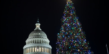 WASHINGTON, DC - DECEMBER 6: A view of the U.S. Capitol during the U.S. Capitol Christmas Tree lighting ceremony on Capitol Hill, December 6, 2017 in Washington, DC. The tree is a 79-foot-tall Engelmann Spruce tree that was grown in Montana. The tree is a 79-foot-tall Engelmann Spruce tree that was grown in Montana.(Drew Angerer/Getty Images)