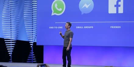 Facebook CEO Mark Zuckerberg during the keynote address at the F8 Facebook Developer Conference Tuesday, April 12, 2016, in San Francisco. Facebook says people who use its Messenger chat service will soon be able to order flowers, request news articles and talk with businesses by sending them direct text messages. At its annual conference for software developers, Zuckerberg said the company is releasing new tools that businesses can use to build