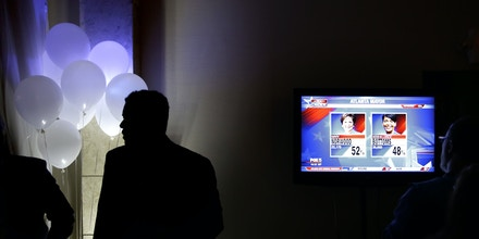 Early returns are broadcast on a television at an election night party for Atlanta city councilwoman and mayoral candidate Mary Norwood in Atlanta, Tuesday, Dec. 5, 2017. Voters in Tuesday's runoff for Atlanta mayor are deciding between Norwood and Keisha Lance Bottoms. If Norwood wins, Atlanta would have its first-ever white female mayor. If Bottoms wins, it would continue what has been called the city's black political machine, which has dominated the mayor's office since the mid-1970s. (AP Photo/David Goldman)