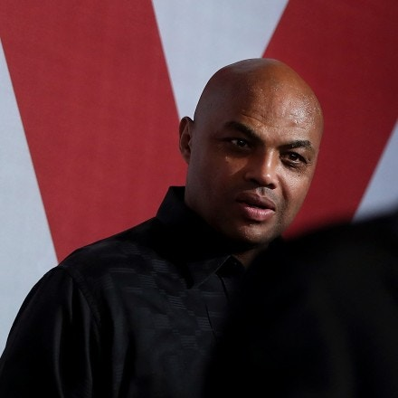 BIRMINGHAM, AL - DECEMBER 11:  NBA Hall of Famer Charles Barkley (L) looks on as democratic Senatorial candidate Doug Jones speaks during a get out the vote campaign rally on December 11, 2017 in Birmingham, Alabama. Jones is facing off against Republican Roy Moore in tomorrow's special election for the U.S. Senate.  (Photo by Justin Sullivan/Getty Images)