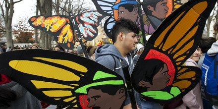 Demonstrators march during an immigration rally in support of the Deferred Action for Childhood Arrivals (DACA), and Temporary Protected Status (TPS), programs, on Capitol Hill in Washington, Wednesday, Dec. 6, 2017. ( AP Photo/Jose Luis Magana)