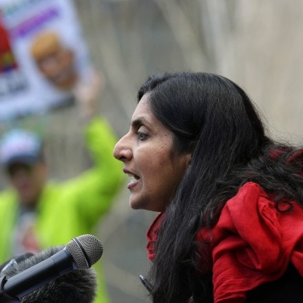 Seattle City Councilmember Kshama Sawant speaks at a protest in front of the federal courthouse, Friday, Feb. 17, 2017, in Seattle, where a hearing was held for Daniel Ramirez Medina, a Seattle-area man who was arrested by immigration agents despite his participation in a federal program to protect those brought to the U.S. illegally as children. A federal magistrate on Friday declined to release Medina and said he must request a hearing from a federal immigration judge. Ramirez's arrest thrust him into a national debate over the immigration priorities of President Donald Trump. (AP Photo/Ted S. Warren)