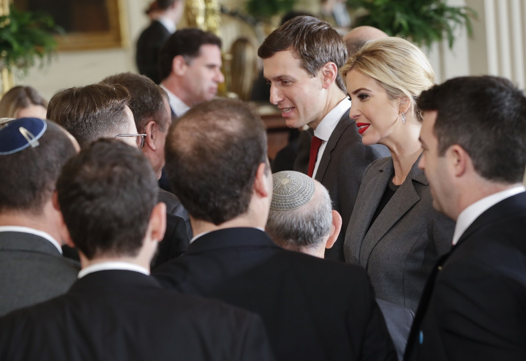 Ivanka Trump, right, daughter of President Donald Trump and her husband, senior adviser Jared Kushner, center, greet members of the Israeli delegation after a joint news conference between President Trump and Israeli Prime Minister Benjamin Netanyahu in the East Room of the White House in Washington, Wednesday, Feb. 15, 2017. (AP Photo/Pablo Martinez Monsivais)