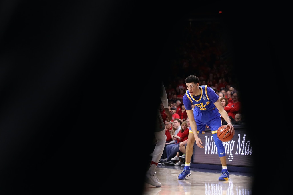 TUCSON, AZ - FEBRUARY 25:  Lonzo Ball #2 of the UCLA Bruins handles the ball during the second half of the college basketball game against the Arizona Wildcats at McKale Center on February 25, 2017 in Tucson, Arizona. The Bruins defeated the Wildcats 77-72.  (Photo by Christian Petersen/Getty Images)