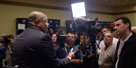 PARK CITY, UT - SEPTEMBER 25:  Host of the Olympics on NBC Mike Tirico addresses the media during the Team USA Media Summit ahead of the PyeongChang 2018 Olympic Winter Games on September 25, 2017 in Park City, Utah.  (Photo by Gene Sweeney Jr./Getty Images)