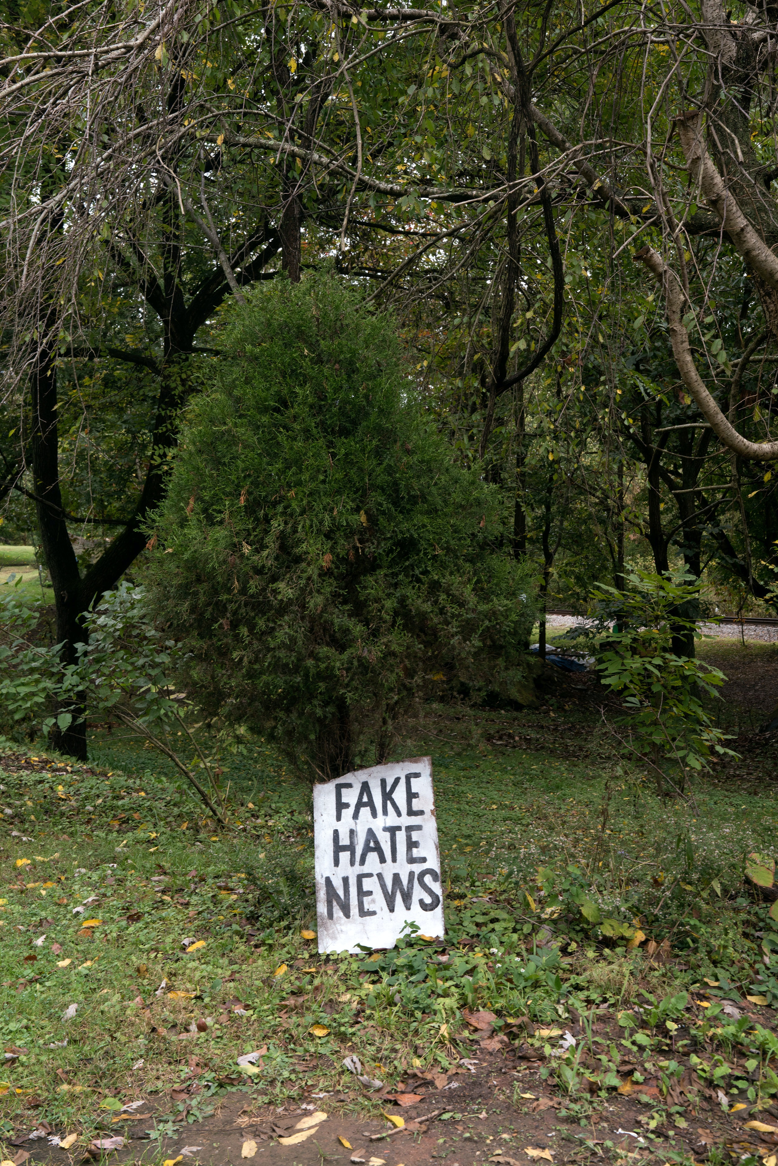 A yard sign in Meigs county, Ohio addresses the controversy of fake news.