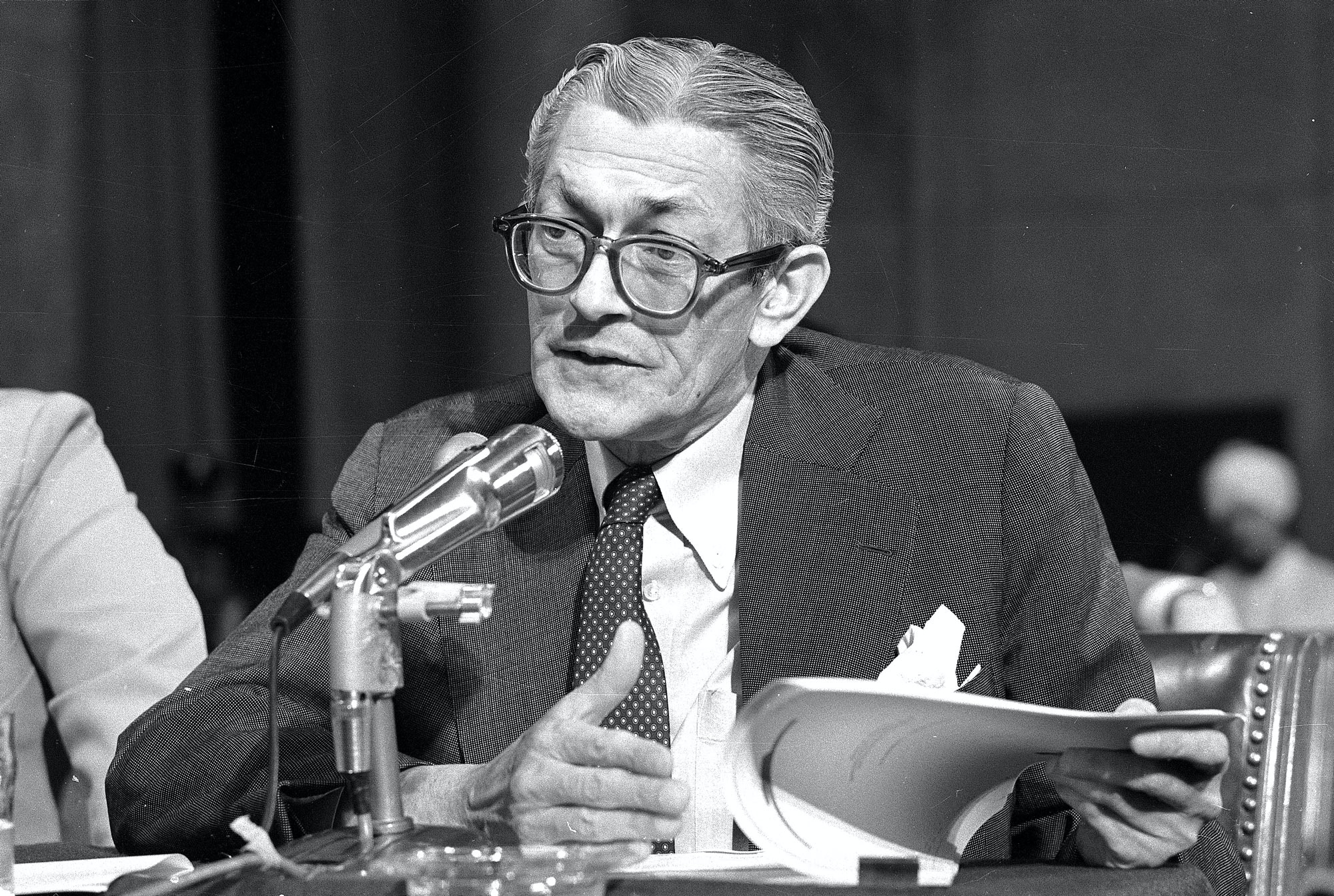 James Angleton, former Chief of Counterintelligence at the Central Intelligence Agency, answers questions before the Senate Intelligence Committee in Washington D.C. on Sept. 25, 1975.  Angleton was answering questions concerning the C.I.A.'s cover up of reading the mail of many prominent Americans including the mail of Richard M. Nixon.  (AP Photo)