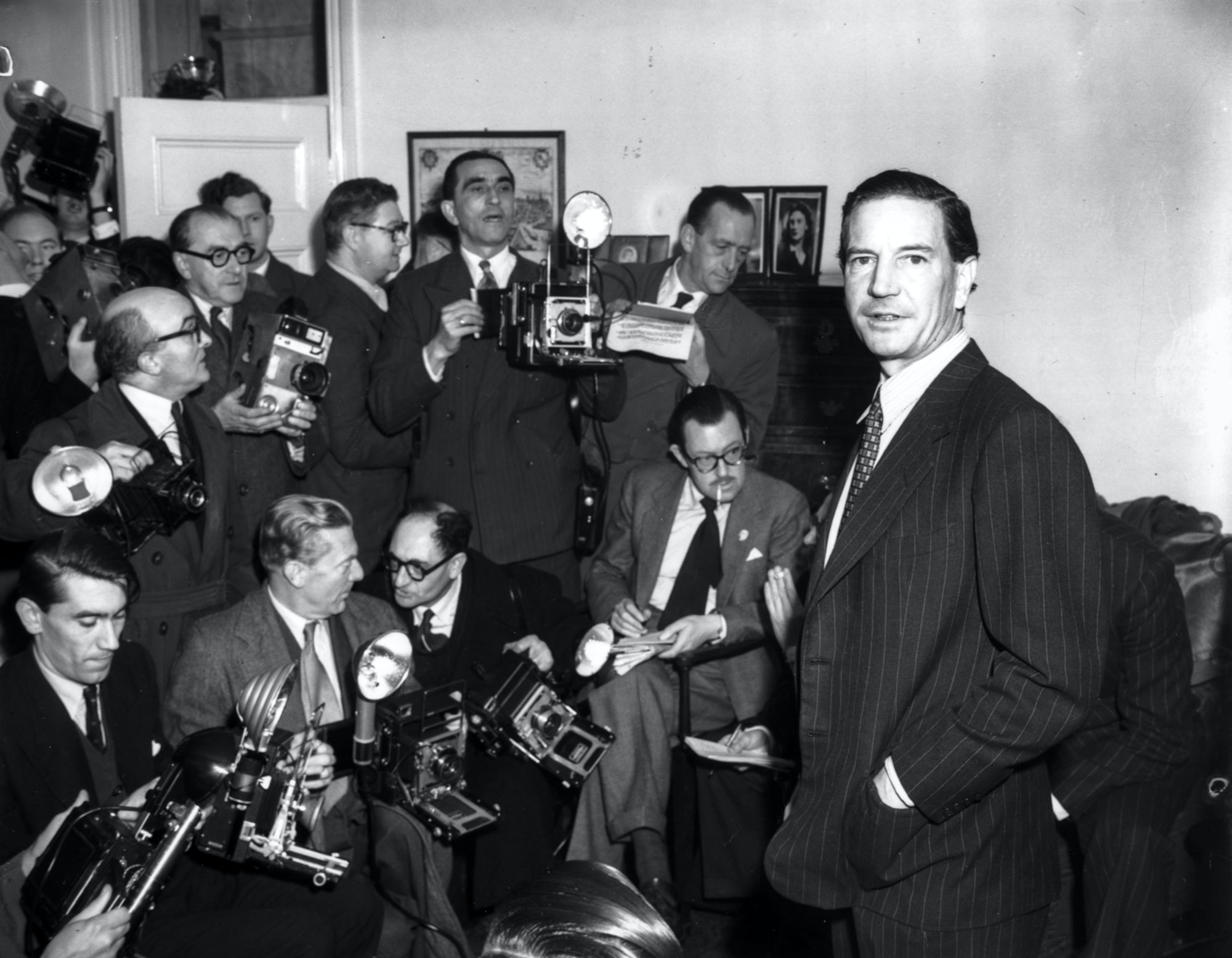 Harold 'Kim' Philby, former First Secretary of the British Embassy in Washington, at a press conference in response to his involvement with defected diplomats Burgess and McLean, at his brother's home in Drayton Gardens, London, November 8th 1955. (Photo by J. Wilds/Keystone/Getty Images)