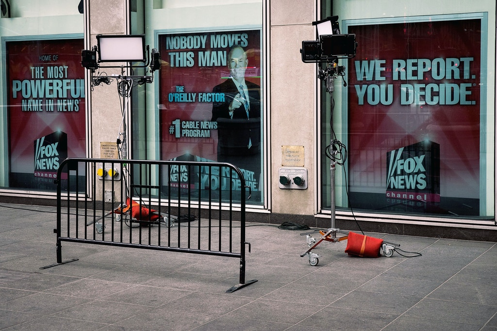 NEW YORK, NY - APRIL 19: Advertisements for Fox News and Bill O'Reilly stand in the windows outside of the News Corp. and Fox News headquarters in Midtown Manhattan, April 19, 2017 in New York City. Fox News television personality Bill O'Reilly's future at the network is uncertain following numerous claims of sexual harassment and subsequent legal settlements. (Photo by Drew Angerer/Getty Images)