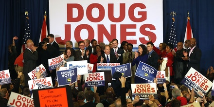 BIRMINGHAM, AL - DECEMBER 12: Democratic U.S. Senator elect Doug Jones speaks with supporters during his election night gathering the Sheraton Hotel on December 12, 2017 in Birmingham, Alabama. Doug Jones defeated his republican challenger Roy Moore to claim Alabama's U.S. Senate seat that was vacated by attorney general Jeff Sessions. (Photo by Justin Sullivan/Getty Images)