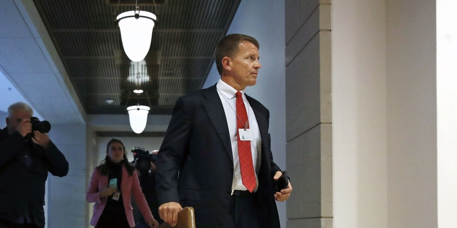 Blackwater founder Erik Prince arrives for a closed meeting with members of the House Intelligence Committee, Thursday, Nov. 30, 2017, on Capitol Hill in Washington. (AP Photo/Jacquelyn Martin)