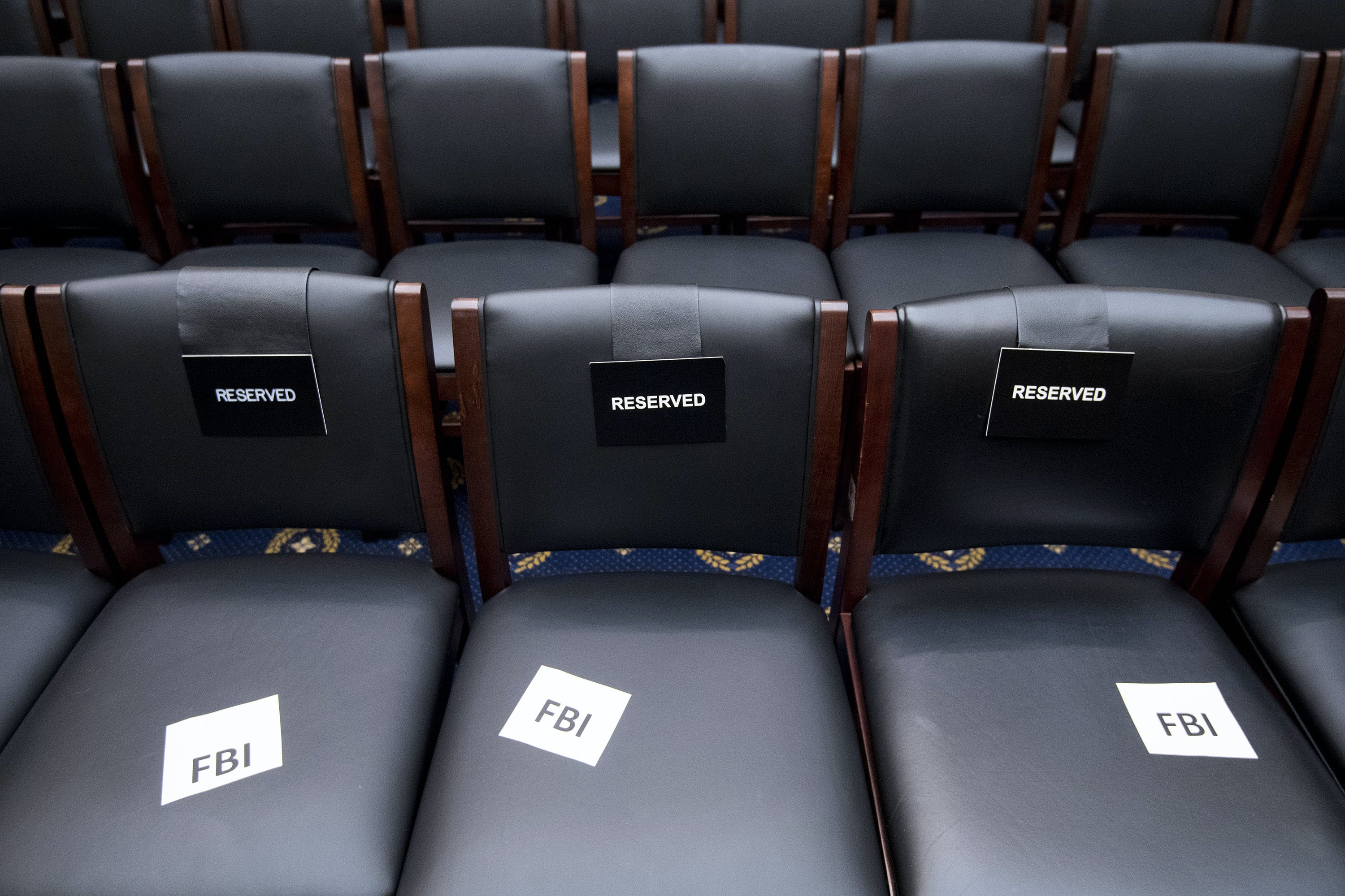 UNITED STATES - DECEMBER 7: Seats are reserved for FBI staff in the House Judiciary Committee before the hearing on oversight of the Federal Bureau of Investigation on Thursday, Dec. 7, 2017. (Photo By Bill Clark/CQ Roll Call)