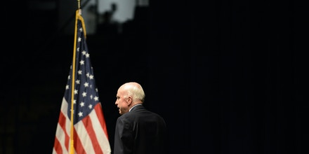 ANNAPOLIS, MD - OCTOBER 30:  U.S. Senator John McCain (R-AZ), Chairman of the Senate Armed Services Committee, arrives to address the Brigade of Midshipmen at the United States Naval Academy on October 30, 2017 in Annapolis, Maryland. A Class of 1958 Naval Academy graduate, Senator McCain spoke about the importance of American leadership and service to one's country.  (Photo by Astrid Riecken/Getty Images)