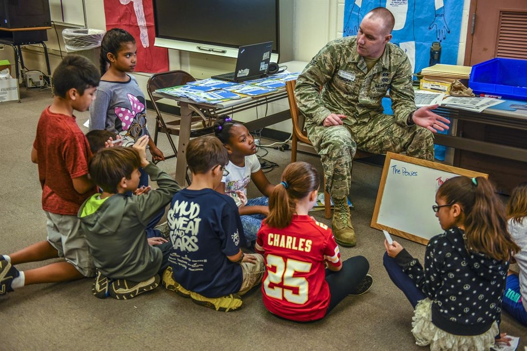 Apr 26, 2017 - Japan - Emergency Lessons. Air Force Senior Airman Joseph Jordan explains preparedness to children at a school on Kadena Air Base, Japan, April 26, 2017. Jordan is a management technician assigned to the 18th Civil Engineer Squadron. Air Force photo by Senior Airman Nick Emerick. (Credit Image: © Nick Emerick/DoD via ZUMA Wire/ZUMAPRESS.com)