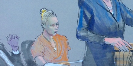 Reality Winner (C), the U.S. intelligence contractor charged with leaking classified National Security Agency material is shown in this courtroom sketch during her hearing at the U.S. District Courthouse in Augusta, Georgia, U.S., June 8, 2017.  Courtesy Richard Miller via REUTERS   EDITORIAL USE ONLY. MANDATORY CREDIT. - RC1FE70343B0