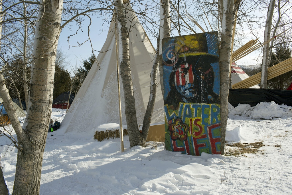 CANNON BALL, ND - DECEMBER 3: A hand painted drawing of Sitting Bull decorates the Rosebud camp Just outside of the Lakota Sioux reservation of Standing Rock, North Dakota, on December 3, 2016. Over two hundred tribes, joined by environmental activists and hundreds of United States military veterans, camp and demonstrate against the Dakota Access Pipeline, which plans to be built under the Missouri River adjacent to the reservation. The gathering has been the largest meeting of Native Americans since the Little Bighorn camp in 1876. (Photo by Andrew Lichtenstein/Corbis via Getty Images)